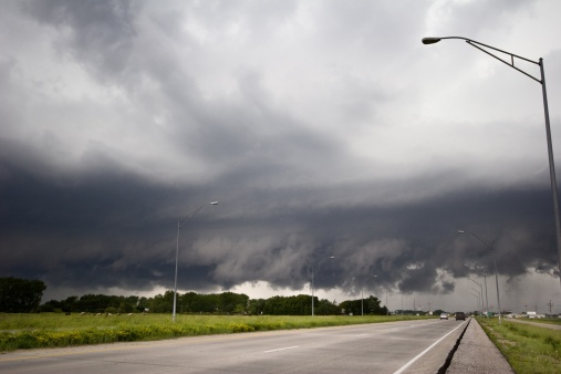 Low Clouds from storms that earlier produced numerous tornadoes
