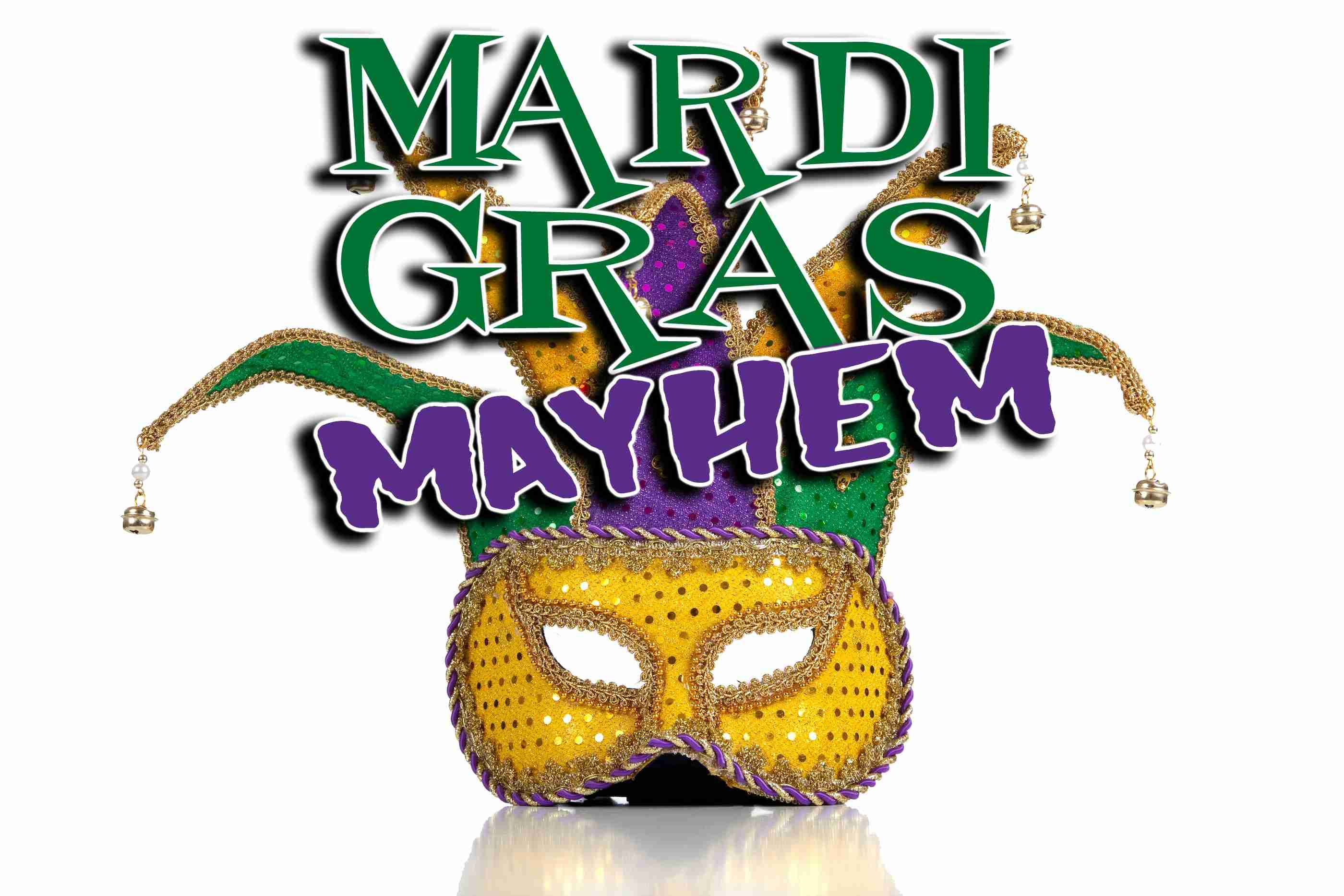 Gold purple and green glittery mardi gras mask on a white background