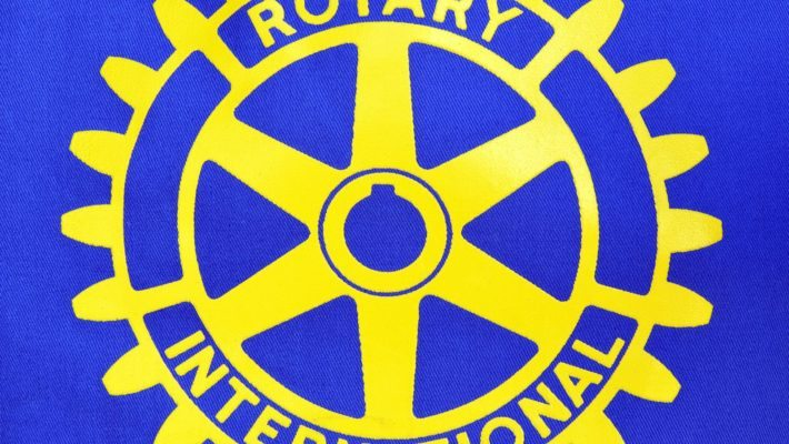 COBRAM, VICTORIA, AUSTRALIA. 10 DAY, AUG 2014. Close up of a cap badge of Rotary International service club.