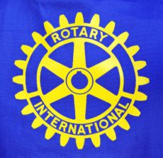 COBRAM, VICTORIA, AUSTRALIA. 10 DAY, AUG 2014. Close up of a cap badge of Rotary International service club.