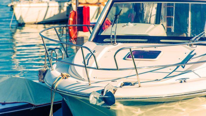 Fishing Sport Boat Closeup Photo. Boating and Fishing Theme.
