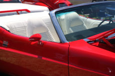Vintaqe Red Sports Car with White Leather Interior