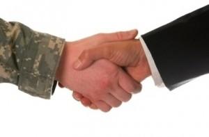 hand shake veteran and business man