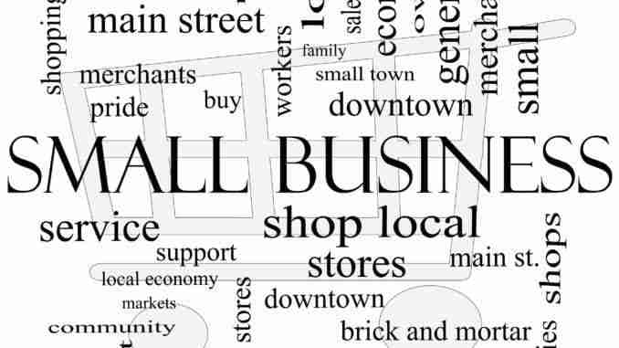 Small Business Word Cloud Concept With Shopping Cart