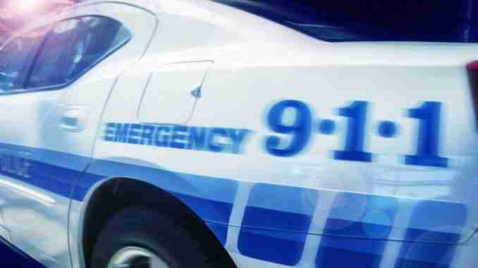 911 Emergency response police car speeding to scene of crime