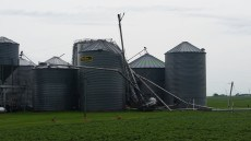 Grain bin damage at the intersection of 260th St and Quail Ave, 5 miles south of Charles City