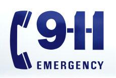 911 emergency sticker on side of ambulance.