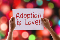 Adoption is Love card with bokeh background