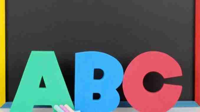 Abc letters chalkboard and chalk
