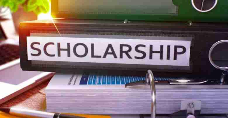 Scholarship on Black Office Folder. Toned Image.