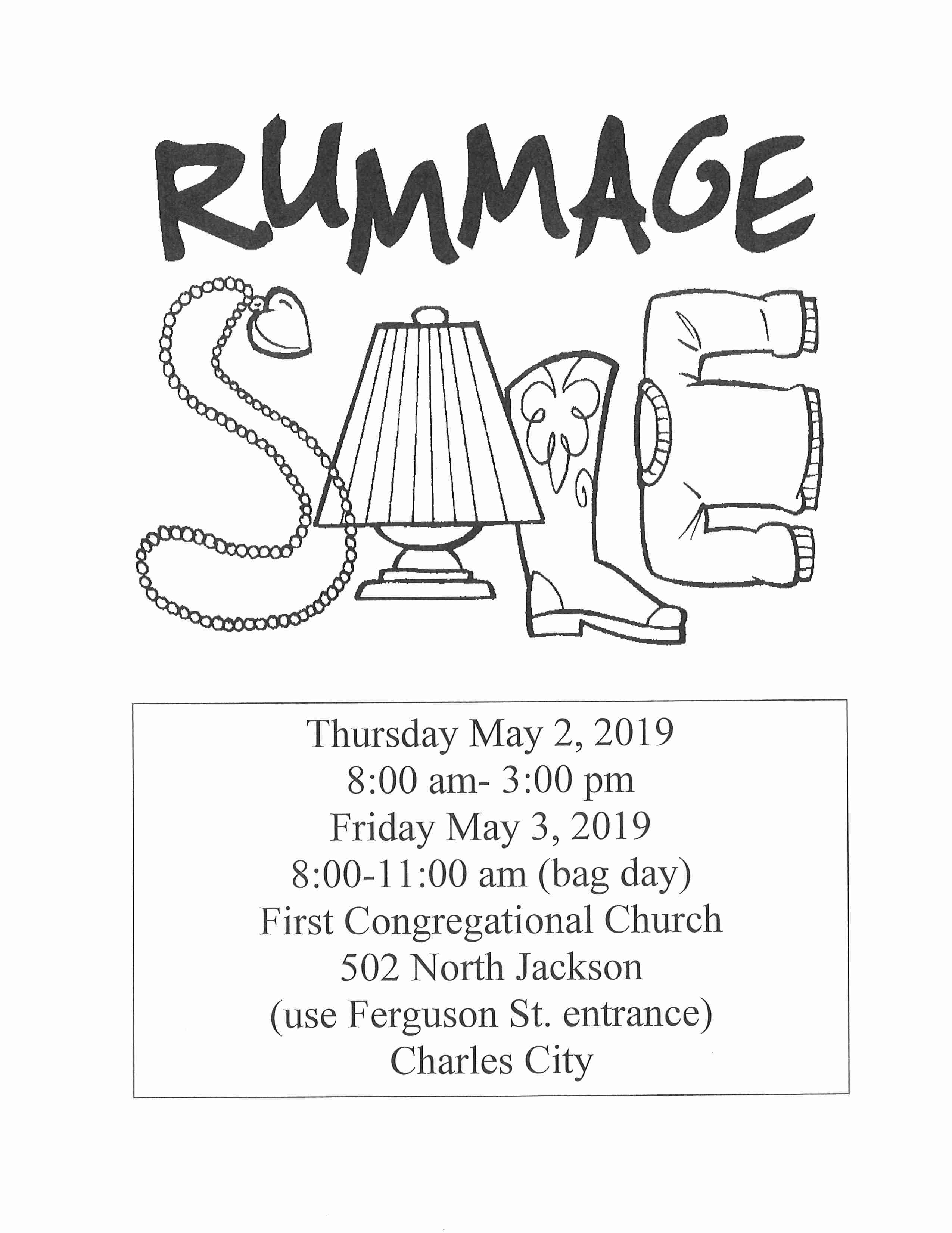 Rummage Sale at First Congregational Church, Charles City – 95 1 The