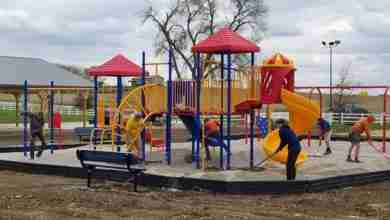 Photo of Almost a year after the tornado: Floyd County Fairgrounds working on 'a lot of projects'; finishes playground set