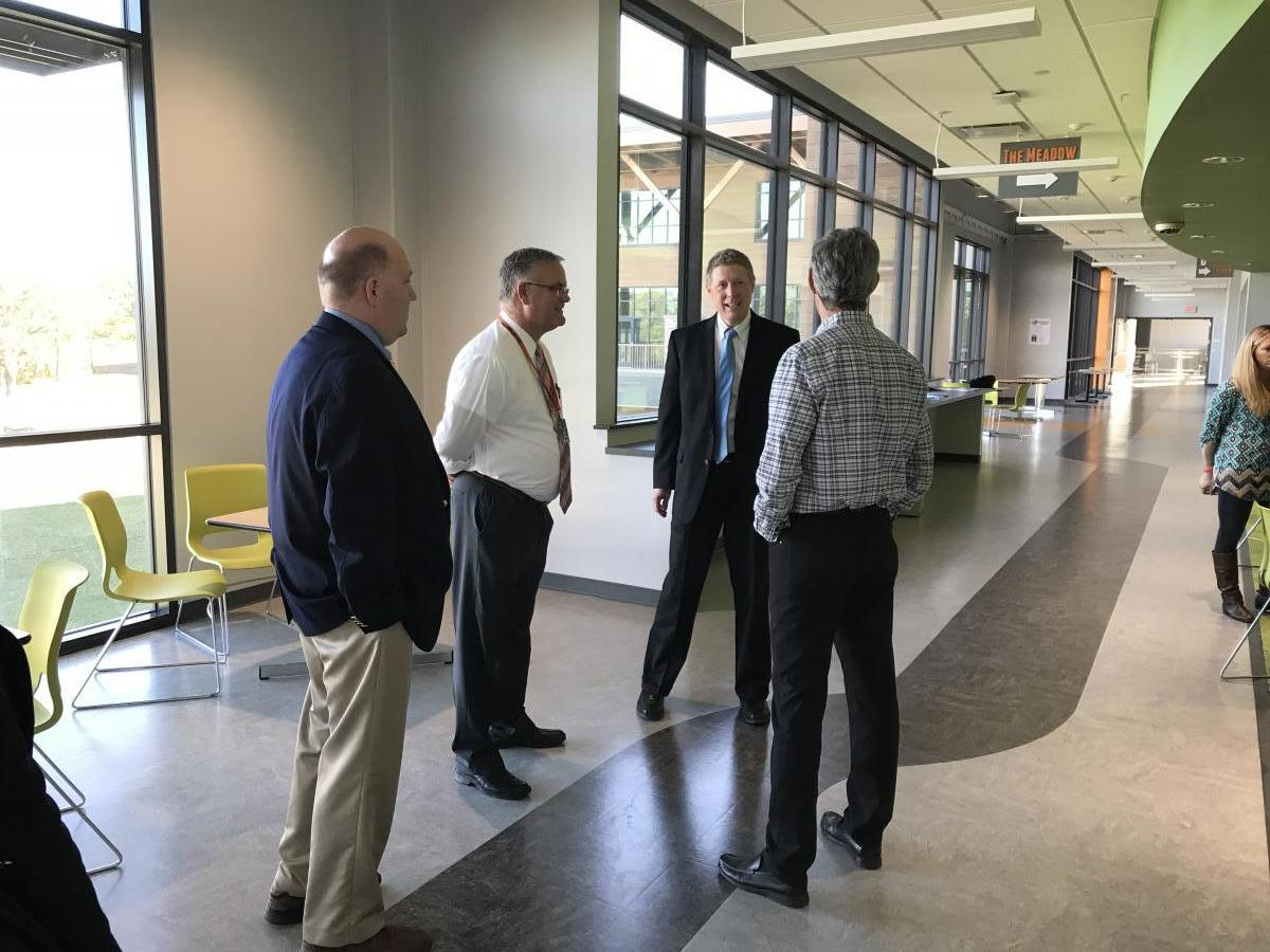 Fred Hubbell visits the Charles City Middle School